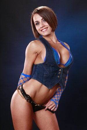 Fit brunette in the blues photo