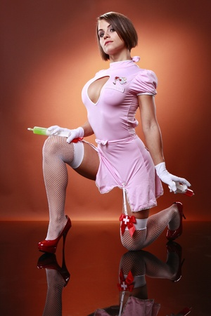 Sexy nurse and gelatin cocktail syringes
