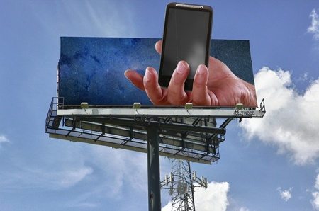 Double copy-space mobile telephony billboard Stock Photo