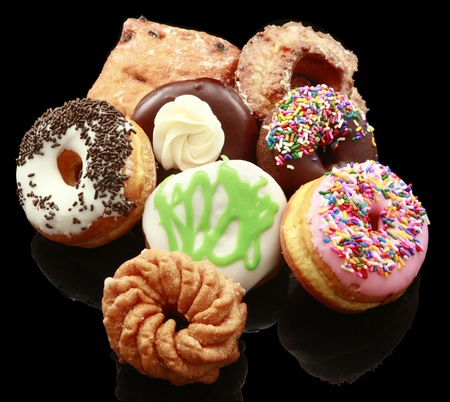 doughnut: Assorted donuts on black