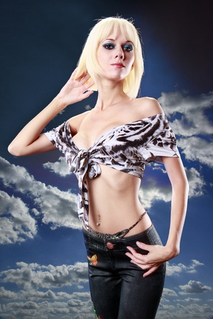 top: Cute blond and sky