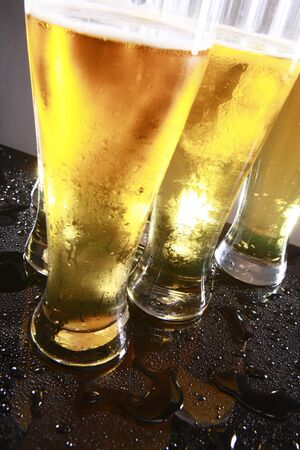 Cold beer in tall glasses Stock Photo - 10619949