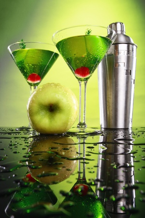 Apple martini and shaker photo