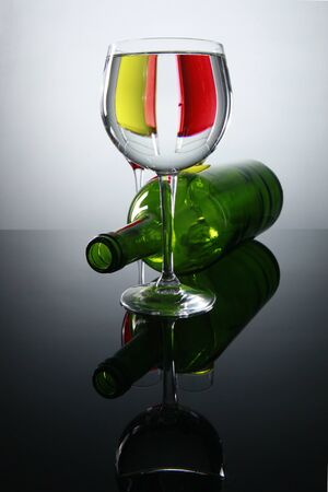 Prismatic view of red and white wine photo