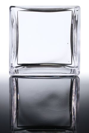 mirror image: Glass square frame copy-space and mirror image with clipping path