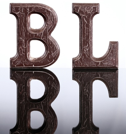 The letters B and L and their mirror image photo