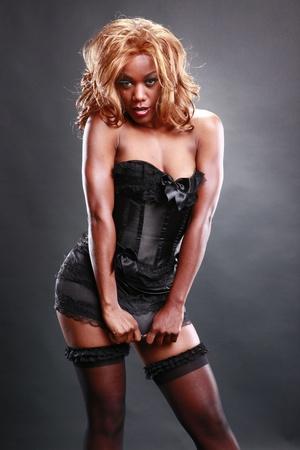 skimpy: Fir AA in black corset
