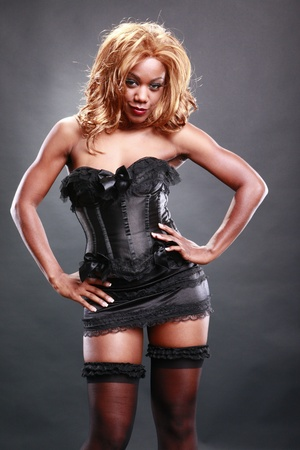 Fir AA in black corset Stock Photo - 10824755