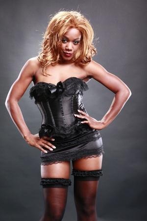 Fir AA in black corset Stock Photo - 10824755