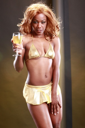 Golden girl and wine photo