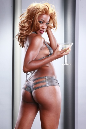 Silver bikini and cold martini photo