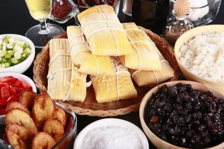 caribbean food: Staple latino sides, manioc, rice, plantains, and black beans