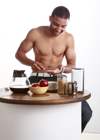 Young African American using your bread spread Stock Photo - 11056663