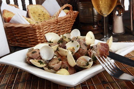 Traditionallly Portuguese pork & clams or Porco a Alentejana