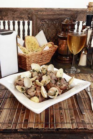 Traditionallly Portuguese pork & clams or Porco a Alentejana