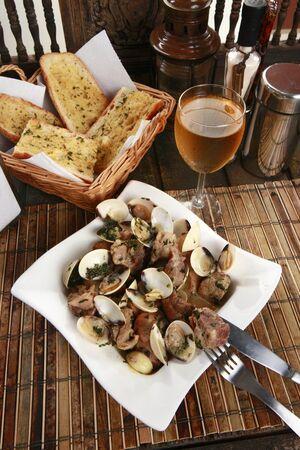 cazuela: Traditionallly Portuguese pork & clams or Porco a Alentejana