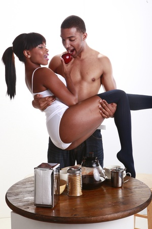 Young African American couple have fun and breakfast Stock Photo - 11056715