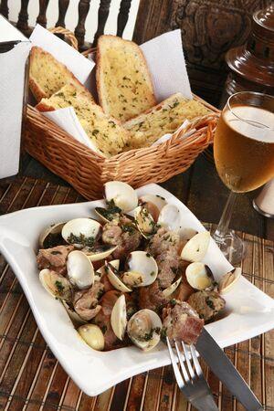 cazuela: Traditional Portuguese pork & clams or Porco a Alentejana