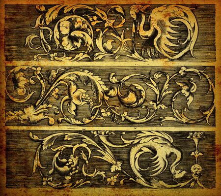 Baroque banners engraving on vintage paper photo