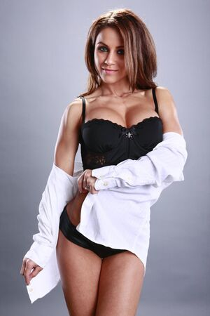 Fitness model and white shirt photo