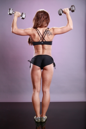 tricep: Fitness models dumbbell routine