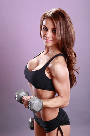 curling: Fitness models dumbbell routine