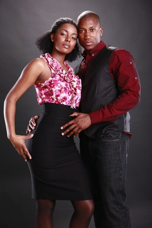 Young african american couple on black Stock Photo - 11553091