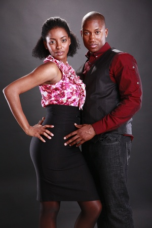Young african american couple on black Stock Photo - 11553097