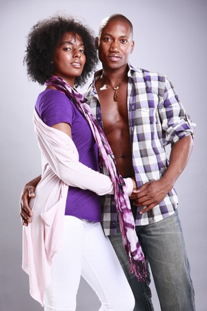 sexual relations: Young fit African American couple