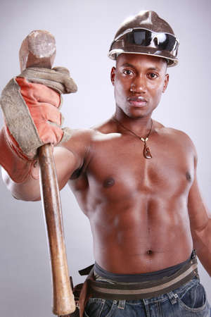 Muscular African American iron worker Stock Photo - 11553073