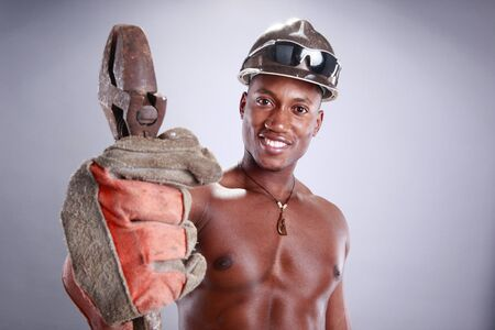 Muscular African American iron worker Stock Photo - 11553117