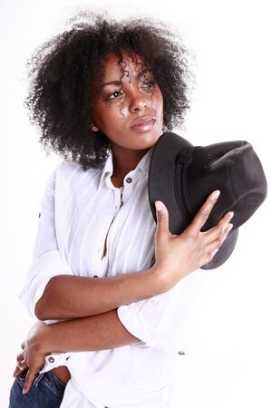 Fashionable black girl and her hat Stock Photo - 11890120