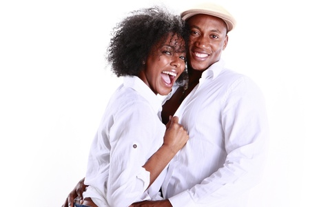 happy black woman: Expressions of an African American couple in love