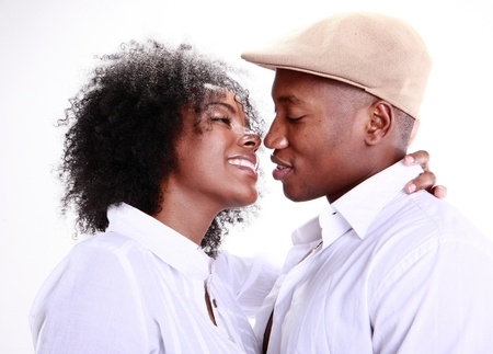 Expressions of an African American couple in love photo