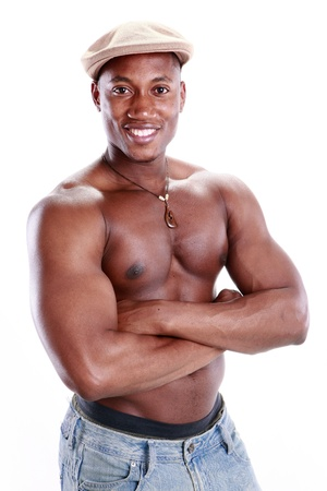 male chest: Fit African American