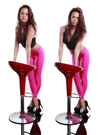 spandex: Gorgeous next door girl leans on a stool Stock Photo