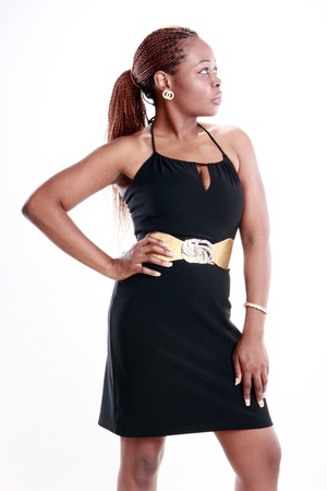 Cute Caribbean young woman in little black dress Stock Photo - 11924612