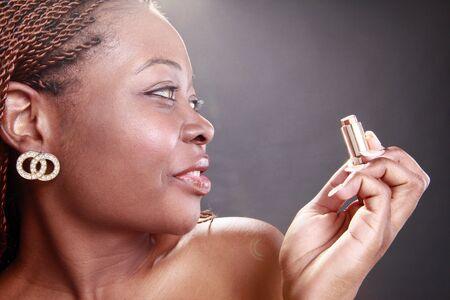 happy african woman: Caribbean lipstick