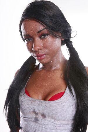 Sweating cute African-American