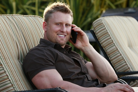 Young man on a call Stock Photo