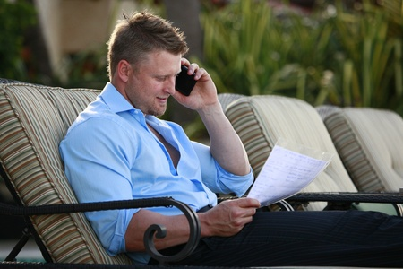 Paperwork and cell call Stock Photo - 12662099