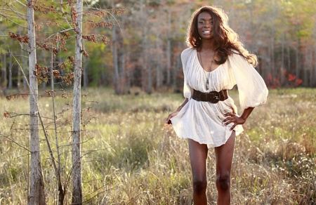 Sexy African American in the woods photo