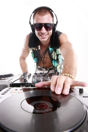 disc: DJ at play Stock Photo