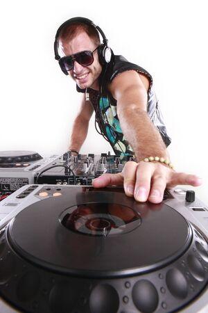dj music: DJ at play Stock Photo