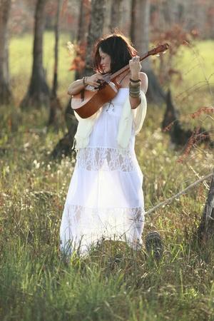 sexy guitar: Nature inspires Stock Photo