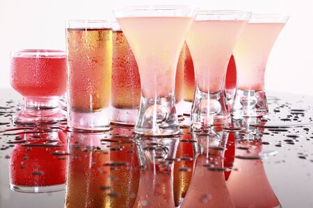 Cosmopolitan, Hurricane, Ice Tea, Cherry Cream, and Strawberry Daiquiri Stock Photo - 14040564