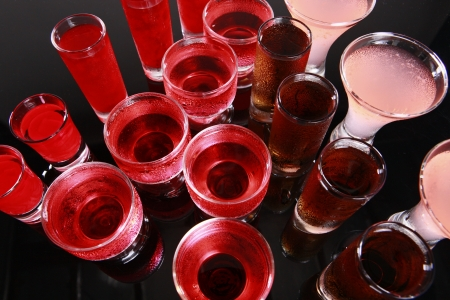 Cosmopolitan, Hurricane, Ice Tea, Cherry Cream, and Strawberry Daiquiri Stock Photo - 14040588