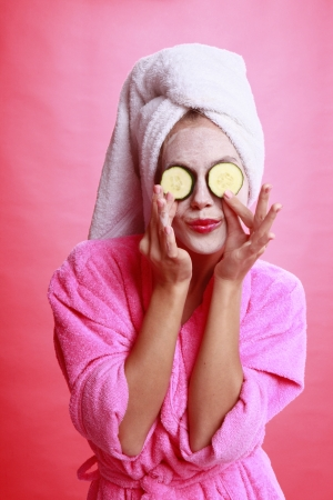 salon background: Cucumber eye treatment and face mask