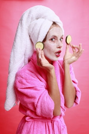 Cucumber eye treatment and face mask Stock Photo - 14025677