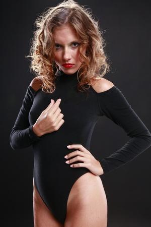 leotard: Seductive blond in black